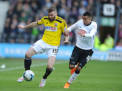 Stuart Dallas Brentford,  Jesse Lingard Derby, Derby County, Derby County v Brentford, Sky Bet Championship, IPro Stadium, Saturday 11th April 2015. Score 1-1,  (Bent 92) (Pritchard 28)<br /> Att 30,050