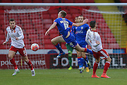 Oldham Athletic midfielder Carl Winchester  gets fouled  during the The FA Cup match between Sheffield Utd and Oldham Athletic at Bramall Lane, Sheffield, England on 5 December 2015. Photo by Simon Davies.