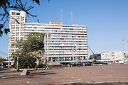 Israel, Tel Aviv Cityhall, Yitzhak Rabin square in the foreground. This is the place where Israeli prime minister, Yitzhak Rabin was murdered on November 4th 1995