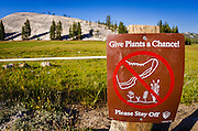Stay off meadows sign, Tuolumne Meadows, Yosemite National Park, California USA