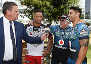 Australia's Today show host talks to Benji Marshall, Sir Peter Leitch and Shaun Johnson. NRL Auckland Nines Festival and Fan Zone, Aotea Square, Auckland, New Zealand. Zealand. Friday 30 January 2015. Copyright Photo: Andrew Cornaga/www.Photosport.co.nz