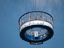 Tourists on sightseeing balloon ride above Hamburg in Germany