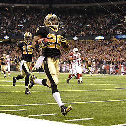 16 January 2010:  New Orleans Saints running back Reggie Bush (25) returns a punt 83-yards for a touchdown during a 45-14 win by the New Orleans Saints over the Arizona Cardinals in the 2010 NFC Divisional Playoff game at the Louisiana Superdome in New Orleans, Louisiana.