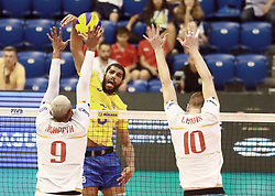 June 16, 2018 - Varna, Bulgaria - from left Earvin NGAPETH (France), Wallace de SOUZA (Brazil), Kevin LE ROUX (France), .mens Volleyball Nations League,week 4, Brazil vs Francel, Palace of culture and sport, Varna/Bulgaria, June 16, 2018, the fourth of 5 weekends of the preliminary lap in the new established mens Volleyball Nationas League takes place in Varna/Bulgaria. (Credit Image: © Wolfgang Fehrmann via ZUMA Wire)