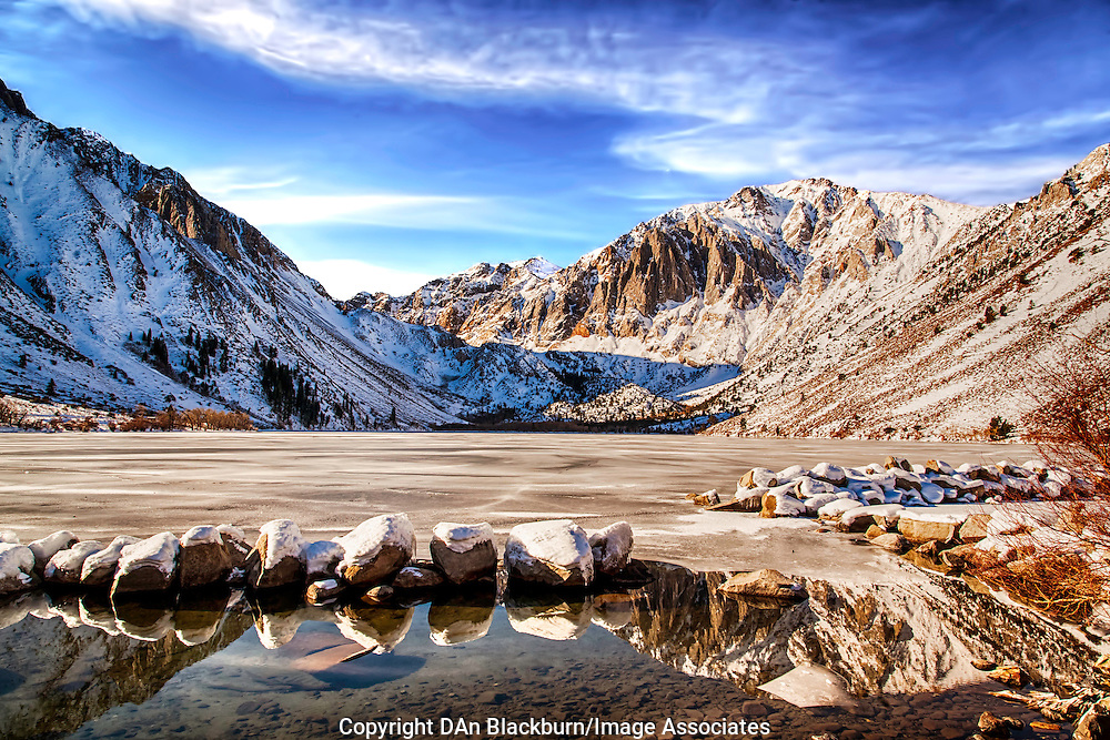 Snow Covered Mountains and Frozen Lake at Convict Lake in California's Eastern Sierra