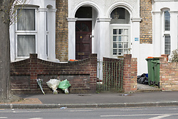 © Licensed to London News Pictures. 17/04/2018. London, UK. Flowers are laid outside a house within the crime scene cordon at Chestnut Avenue in Forest Gate, east London where a teenager was fatally stabbed last night. Police were called to the stabbing in Chestnut Avenue at around 22:50 on Monday 16th April and attended along with London Ambulance Services and paramedics from London's Air Ambulance. The victim, believed to be an 18 year old man was pronounced dead at the scene. This is the 60th killing of the year so far in London.. Photo credit: Vickie Flores/LNP