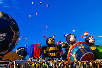 Special shape balloons (Little Bee Lilly, Little Bee Joey and Little Bee Joelly), Albuquerque International Balloon Fiesta, Albuquerque, New Mexico USA.
