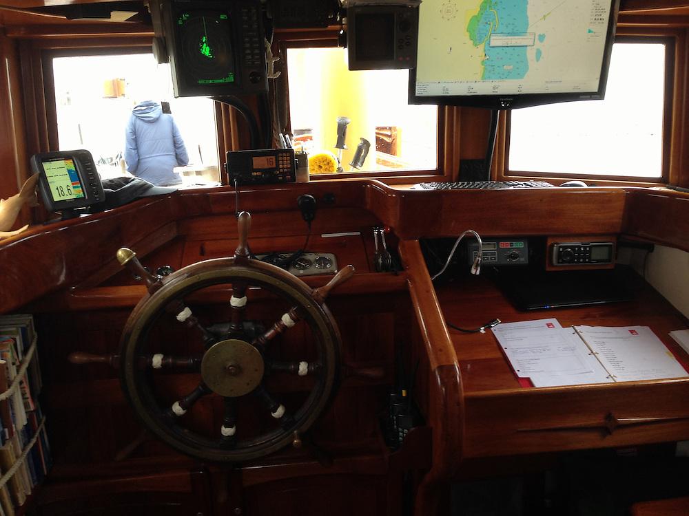 Inside the Wheelhouse, SV Maple Leaf, Gulf Islands, British Columbia, Canada