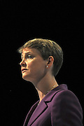 © Licensed to London News Pictures. 28/09/2011. LONDON, UK. Yvette Cooper, Shadow Home Secretary delivers a speech at The Labour Party Conference in Liverpool today (28/09/11). Photo credit:  Stephen Simpson/LNP