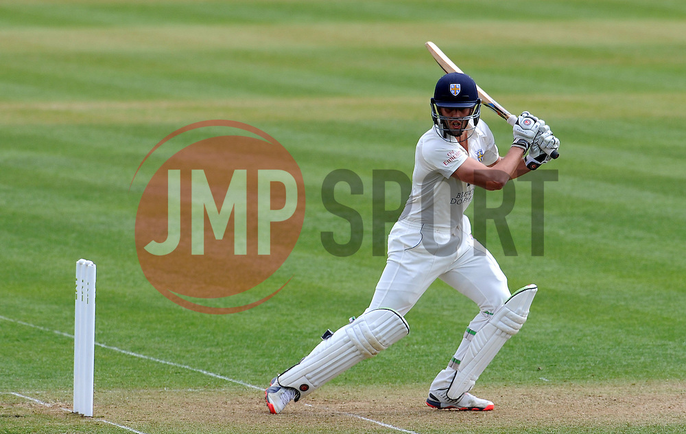 Durham's Calum Macleod flicks the ball off the bowling of Somerset's Lewis Gregory. - Photo mandatory by-line: Harry Trump/JMP - Mobile: 07966 386802 - 13/04/15 - SPORT - CRICKET - LVCC County Championship - Day 2 - Somerset v Durham - The County Ground, Taunton, England.