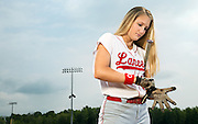 Portraits and posed action photos of Neshannock High School softball players Allie Fischer and Madison Altmyer on June 13, 2014.