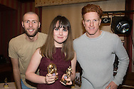 Roxanne Stenson, Monifieth Ladies Fire under 13s players' player of the year pictured with Dundee United's Lewis Toshney and Simon Murray at Monifieth Ladies presentation evening at the Panmure Hotel, Monifieth - Photo: David Young, <br /> <br />  - &copy; David Young - www.davidyoungphoto.co.uk - email: davidyoungphoto@gmail.com