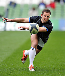 Micky Young of Bath Rugby passes the ball during the pre-match warm-up - Photo mandatory by-line: Patrick Khachfe/JMP - Mobile: 07966 386802 04/04/2015 - SPORT - RUGBY UNION - Dublin - Aviva Stadium - Leinster Rugby v Bath Rugby - European Rugby Champions Cup