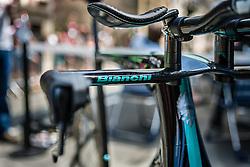 The new Bianchi Aquila CV timetrial bike, Tour de France, Stage 20: Bergerac > Périgueux (ITT), UCI WorldTour, 2.UWT, Bergerac, France, 26th July 2014, Photo by Pim Nijland / PelotonPhotos.com