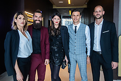 Luka Majcen with his wife, Ivan Crnov with his girlfriend and Curanovic Darjan during SPINS XI Nogometna Gala 2019 event when presented best football players of Prva liga Telekom Slovenije in season 2018/19, on May 19, 2019 in Slovene National Theatre Opera and Ballet Ljubljana, Slovenia. Photo by Grega Valancic / Sportida.com