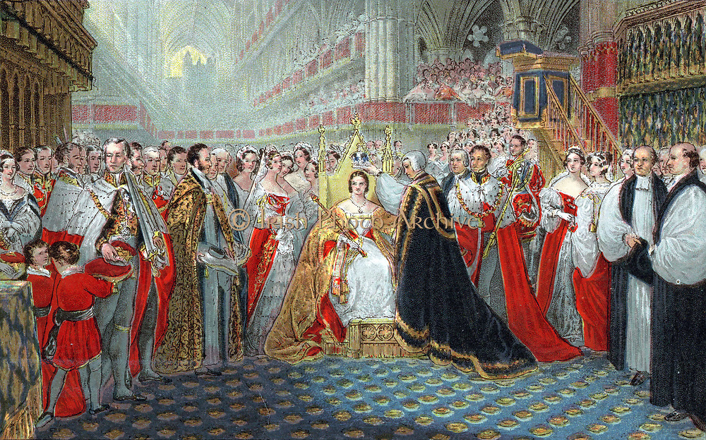 Victoria (1819-1901) queen of England from 1837 and Empress of India from 1876. Coronation in Westminster Abbey, 28 June 1837. Archbishop of Canterbury placing crown on queen's head. Oleograph