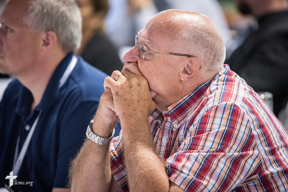 A delegate listens during the President's Report at the 66th Regular Convention of The Lutheran Church–Missouri Synod on Sunday, July 9, 2016, at the Wisconsin Center in Milwaukee. LCMS/Frank Kohn