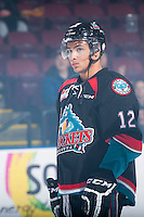 KELOWNA, CANADA - DECEMBER 5: Tyrell Goulbourne #12 of Kelowna Rockets lines up against the Prince George Cougars on December 5, 2014 at Prospera Place in Kelowna, British Columbia, Canada.  (Photo by Marissa Baecker/Shoot the Breeze)  *** Local Caption *** Tyrell Goulbourne;