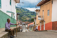 Salamina , Colombia  - February 20, 2017 : colorful streets of Salamina Caldas in Colombia South America