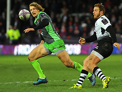 Guglielmo Palazzani of Zebre Rugby Club under pressure from Billy Twelvetrees of Gloucester Rugby-Mandatory by-line: Nizaam Jones/JMP- 16/12/2017 - RUGBY - Kingsholm - Gloucester, England - Gloucester Rugby v Zebre Rugby Club- European Rugby Challenge Cup