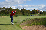 Andy Ogletree (USA) plays his second shot to the second hole during the Saturday Singles in the Walker Cup at the Royal Liverpool Golf Club, Saturday, Sept 7, 2019, in Hoylake, United Kingdom. (Steve Flynn/Image of Sport)