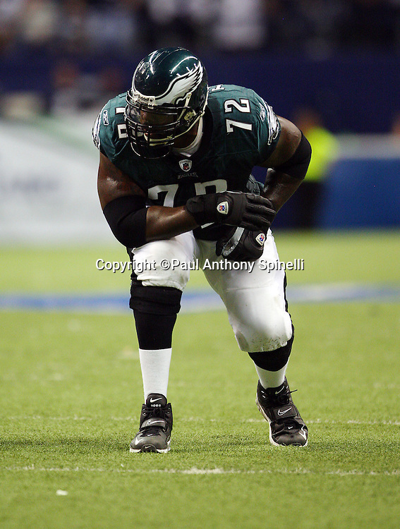 IRVING, TX - SEPTEMBER 15:  Offensive tackle Tra Thomas #72 of the Philadelphia Eagles gets set for the snap during the game against the Dallas Cowboys at Texas Stadium on September 15, 2008 in Irving, Texas. The Cowboys defeated the Eagles 41-37. ©Paul Anthony Spinelli *** Local Caption *** Tra Thomas