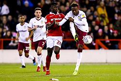Tammy Abraham of Aston Villa takes on Pele of Nottingham Forest - Mandatory by-line: Robbie Stephenson/JMP - 13/03/2019 - FOOTBALL - The City Ground - Nottingham, England - Nottingham Forest v Aston Villa - Sky Bet Championship