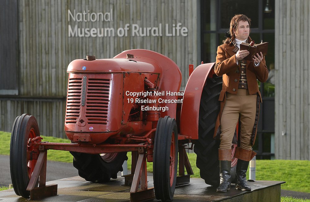 Robert Burns returns to his farming roots at the National Museum of Rural Life in East Kilbride, which will play host to Burns Unbound &ndash; a weekend of traditional Scottish activities to celebrate Burns Night - on 24 and 25 January. <br /> Pictured: Christopher Tait, as Robert Burns with a David Brown Cropmaster tractor.  <br />  Neil Hanna Photography<br /> www.neilhannaphotography.co.uk<br /> 07702 246823