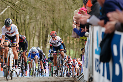 Ashleigh Moolman Pasio battles up Kemmelberg - Women's Gent Wevelgem 2016, a 115km UCI Women's WorldTour road race from Ieper to Wevelgem, on March 27th, 2016 in Flanders, Belgium.