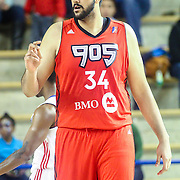 Raptors 905 Center SIM BHULLAR (34) sets up on defense in the first half of a NBA D-league regular season basketball game between the Delaware 87ers and the Raptors 905 Friday, Jan. 15, 2016. at The Bob Carpenter Sports Convocation Center in Newark, DEL.