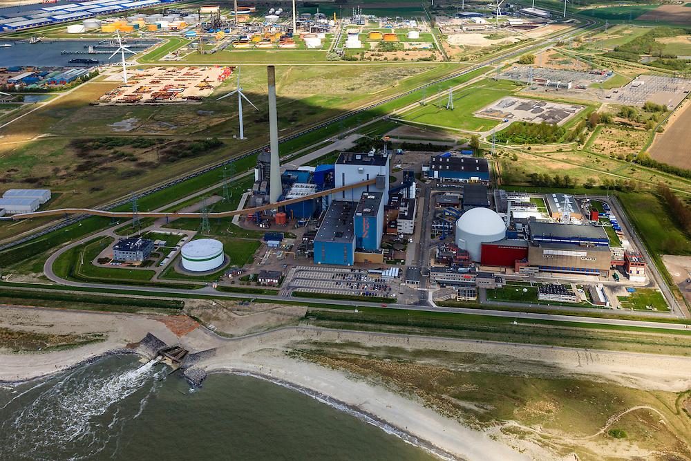 Nederland, Zeeland, Borssele, 09-05-2013; Kerncentrale Borssele, tevens kolencentrale. Koelwater-uitlaat loost op de Westerschelde. Eigendom van de Elektriciteits Produktiemaatschappij Zuid-Nederland (EPZ). Rond de centrale staan ook windmolens. Vlissingen-Oost (Sloegebied) en Sloehaven in de achtergrond. .Coal and nuclear power plant and windmills in south-west Netherlands..luchtfoto (toeslag op standard tarieven).aerial photo (additional fee required).copyright foto/photo Siebe Swart