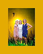 [Photo Composite Illustration] Massapequa, New York, USA. August 5, 2018. L-R, Democrats LAURA GILLEN, Hempstead Town Supervisor; LIUBA GRECHEN SHIRLEY, Congressional candidate for NY 2nd District; and LAURA CURRAN, Nassau County Executive, pose at opening of campaign office. // Setting: Merrick, New York, USA. June 20, 2013. Tern flies over marsh reeds at Levy Park and Preserve, the highest point of South Shore of Nassau County, Long Island.
