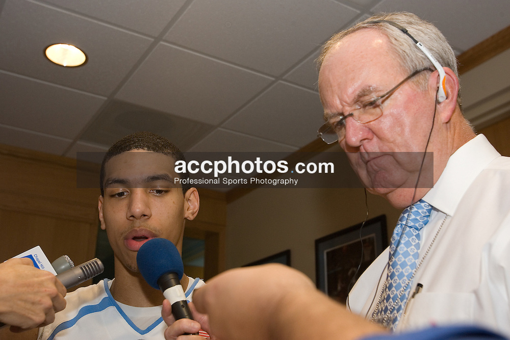 31 December 2006: North Carolina Tar Heels forward (14) Danny Green in a post-game press conference interview with UNC radio voice Woody Durham after a North Carolina Tar Heels 81-51 win over the Dayton Flyers at the Dean Smith Center in Chapel Hill, NC.<br />