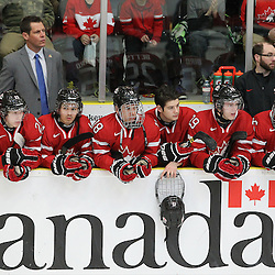COBOURG, - Dec 13, 2015 -  Game #1 - Czech Republic vs Canada West at the 2015 World Junior A Challenge at the Cobourg Community Centre, ON. The Team Canada West bench during opening ceremonies. (Photo: Tim Bates / OJHL Images)