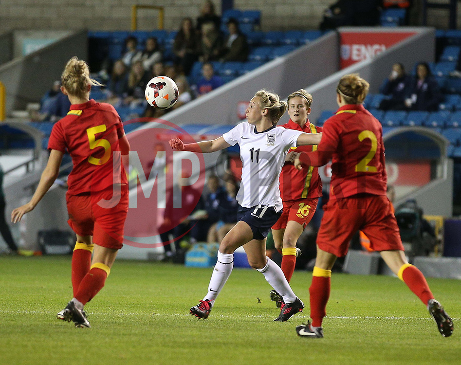 England's Toni Duggan (Everton) scores her sides second goal - Photo mandatory by-line: Robin White/JMP - Tel: Mobile: 07966 386802 26/10/2013 - SPORT - FOOTBALL - The Den - Millwall - England Women v Wales Women - World Cup Qualifier - Group 6