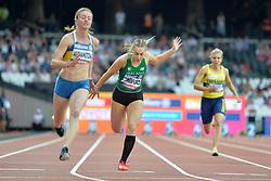 17/07/2017 : Orla Comerford (IRL), Leila Adzhametova (UKR), Nathalie Nilsson (SWE), T13, Women's 100m, at the 2017 World Para Athletics Championships, Olympic Stadium, London, United Kingdom