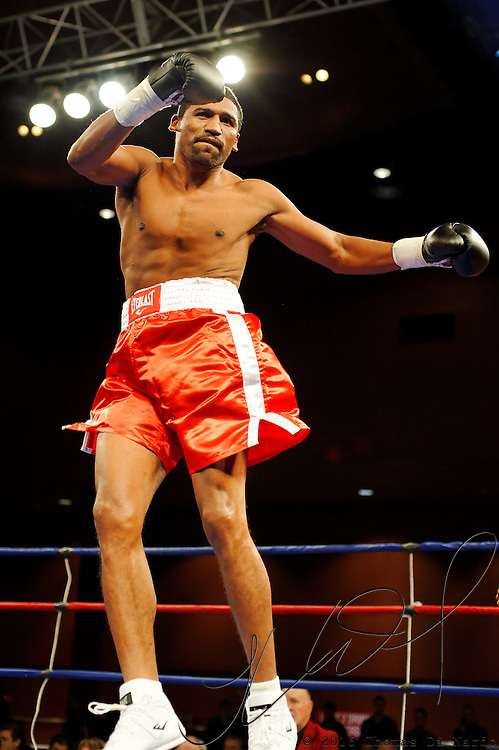 Epifanio Mendoza is introduced for his bout against Beibut Shumenov  at the Meidenbauer Center in Bellevue, WA on December 13, 2008.