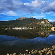 Marina, Mt Royal & Peak One mirrored in Lake Dillon, Summer