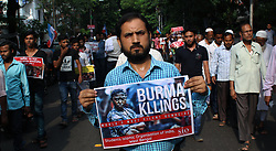 September 7, 2017 - Kolkata, West Bengal, India - Student Islamic Organization(SIO) and Jamaat-e-Islami Hind organize protest march against killing of Rohingya Muslims towards Myanmar Consulate Kolkata.Activist rallied with poster and shout slogan against Myanmar Government,The activist were stopped by the police when confrontation  arise between the police and activists. (Credit Image: © Sandip Saha/Pacific Press via ZUMA Wire)