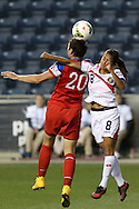 26 October 2014: Abby Wambach (USA) (20) and Daniela Cruz (CRC) (8). The United States Women's National Team played the Costa Rica Women's National Team at PPL Park in Chester, Pennsylvania in the 2014 CONCACAF Women's Championship championship game. By advancing to the final, both teams have qualified for next year's Women's World Cup in Canada. The United States won the game 6-0.
