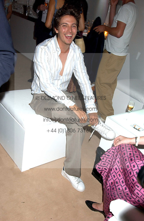 TYLER JAMES at a summer party hosted by champagne house Krug held at Debbenham House, 8 Addison Road, London on 28th June 2005.<br />