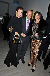 Left to right, LORD & LADY FOSTER and DORRIT MOUSSAIEFF at Arts for Human Rights gala dinner in aid of The Bianca Jagger Human Rights Foundation in association with Swarovski held at Phillips de Pury & Company, Howick Place, London on 13th October 2011.