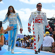 Race car drivers Danica Patrick (L) and Greg Biffle are seen during driver introductions prior to the 58th Annual NASCAR Daytona 500 auto race at Daytona International Speedway on Sunday, February 21, 2016 in Daytona Beach, Florida.  (Alex Menendez via AP)
