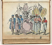 VOC emblem and Ceylon.<br /> Sinhalese soldiers in the service of the VOC and envoys of the king of Kandy, Jan Brandes, 1785<br /> Rijksmuseum