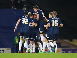 Lee Barnard Of Southend United is mobbed by team mates after scoring his sides second goal - Photo mandatory by-line: Robin White/JMP - Tel: Mobile: 07966 386802 24/03/2014 - SPORT - FOOTBALL - Roots Hall - Southend - Southend United vs Oxford United - Sky Bet League 2