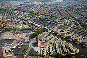 Nederland, Amsterdam, Westerpark, 25-05-2010. Amsterdam-West met Centrale Markthallen (Groothandelsmarkt, Food Center Amsterdam) aan de Jan van Galenstraat. Marcanti-eiland met in het midden 'De Piramides' (architect Sjoerd Soeters), Kostverlorenkade.  .Amsterdam-West with Central Market (Wholesale, Food Center Amsterdam) at the Jan van Galenstraat. Marcanti-island with 'The Pyramids' (architect Sjoerd Soeters), Kostverlorenkade..luchtfoto (toeslag), aerial photo (additional fee required).foto/photo Siebe Swart