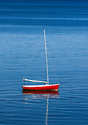 Charming sailboat moored on Cape Cod Bay, Eastham, Cape Cod, Massachusetts, USA.
