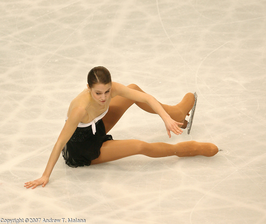 TOKYO - MARCH 24: Alissa Czisny of USA falls during the Women's Free Skating program at the World Figure Skating Championships at the Tokyo Gymnasium on March 24, 2007 in Tokyo, Japan. (Photo by Andrew T. Malana)
