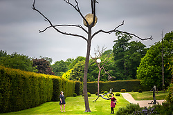 """© Licensed to London News Pictures. 24/05/2018. Wakefield UK. Lydia Turnbull & Kerry chase look at a sculpture by Giuseppe Penone made of Bronze & Stone & called """"In Bilico"""" at the Yorkshire Sculpture park this morning. Giuseppe Penone presents his extensive new exhibition in YSP's light-filled Underground Gallery and across the historic landscape. Works drawn from the past five decades of Penone's career, including many never shown in the UK, trace his evolving and thoughtful consideration of humanity's intimate relationship with the natural world. His poetic practice addresses themes around the body, nature, time, touch and memory, played out across different materials from stone, acacia thorns and graphite, to thousands of laurel leaves. Photo credit: Andrew McCaren/LNP"""