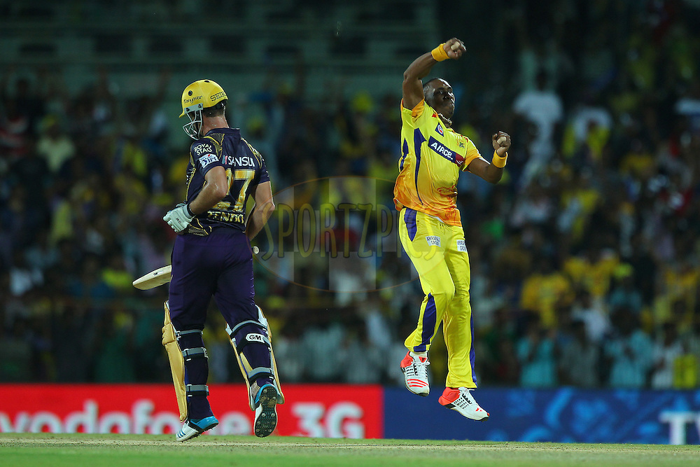 Dwayne Bravo of the Chennai Superkings celebrates the win during match 28 of the Pepsi IPL 2015 (Indian Premier League) between The Chennai Superkings and The Kolkata Knight Riders held at the M. A. Chidambaram Stadium, Chennai Stadium in Chennai, India on the 28th April 2015.<br /> <br /> Photo by:  Ron Gaunt / SPORTZPICS / IPL